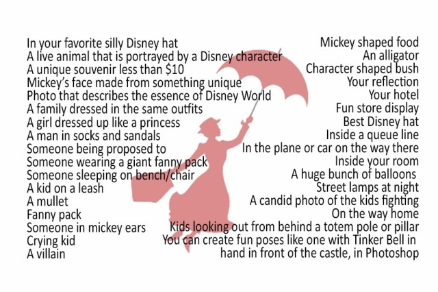 Misc Disney Photo Hunt List
