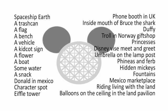 Disney's Epcot Photo Hunt List