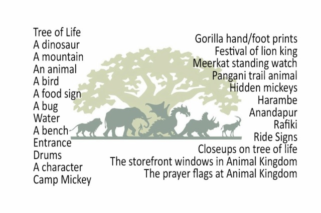 Disney's Animal Kingdom Photo Hunt List