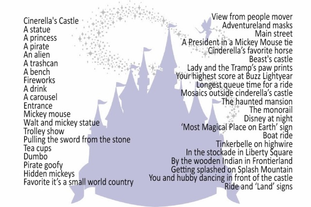 Disney's Magic Kingdom Photo Hunt List