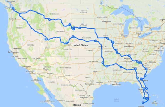 Seattle to Miami and back road trip map